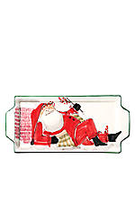 Old St. Nick Santa Handled Rectangular Platter 17-in.x 7-in.
