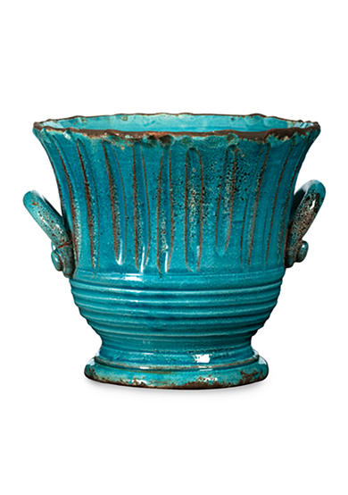 Rustic Garden Small Turquoise Striped Planter