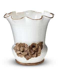 VIETRI Rustic Garden White Scalloped Planter with Flowers