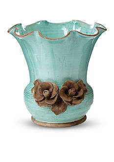 VIETRI Rustic Garden Aqua Scalloped Planter