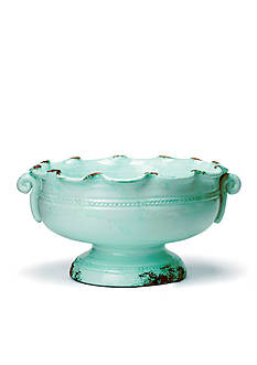Rustic Garden Aqua Small Scalloped Footed Cachepot