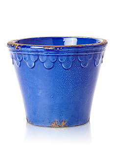 Rustic Garden Terrace Cobalt Planter with Scalloped Petals