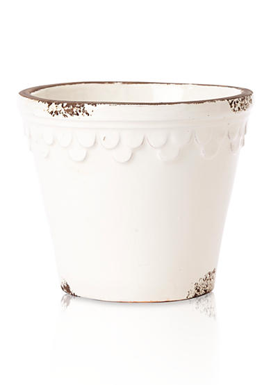 Rustic Garden Terrace White Planter with Scalloped Petals