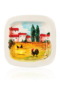 VIETRI Landscape Wall Plate Rooster Square Wall Plate