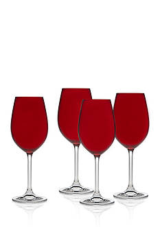 Godinger Meridian Red Color White Wine Glasses - Set of 4