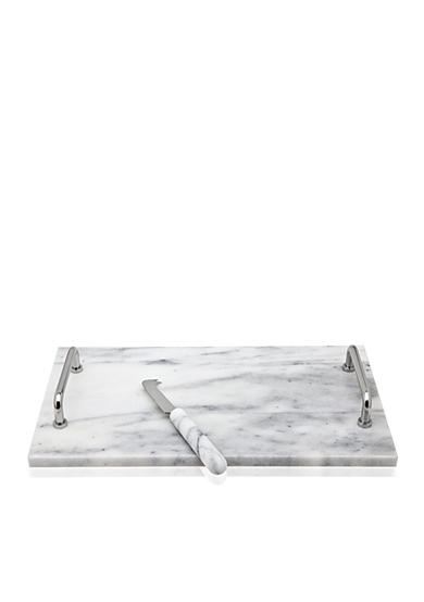 Godinger La Cucina White Marble Cheese Board with Knife