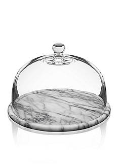 Godinger La Cucina 12-in. White Marble Plate with Glass Dome