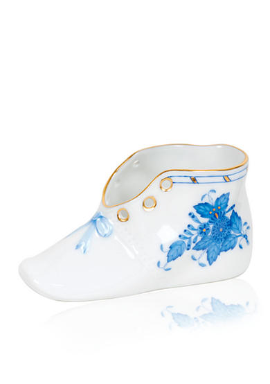Herend Chinese Bouquet Baby Shoe - Blue