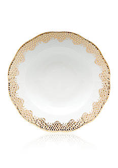 Herend Fish Scale Gold Rim Soup Plate 8-in. D.