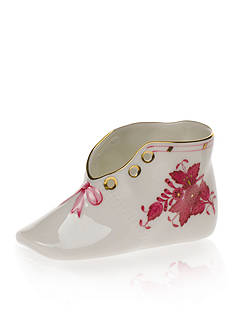 Herend Chinese Bouquet Baby Shoe - Raspberry