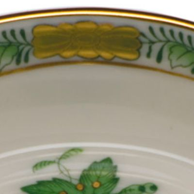 Gold China: Green Herend 3.25-in. X 0.75-in. Mini Scalloped Dish