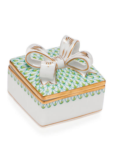 Herend Box with Bow - Key Lime