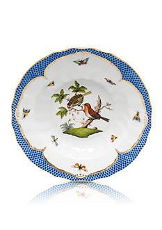 Herend Rothschild Bird Blue Border Rim Soup Bowl - Motif #10