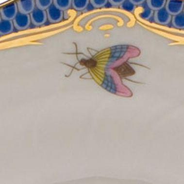 For The Home: Herend Dining & Entertaining: Blue Herend Rothschild Bird Blue Border Rim Soup Bowl - Motif #10