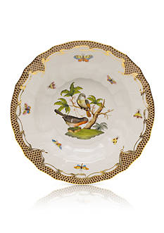 Herend Rothschild Bird Brown Border Rim Soup Bowl - Motif #2