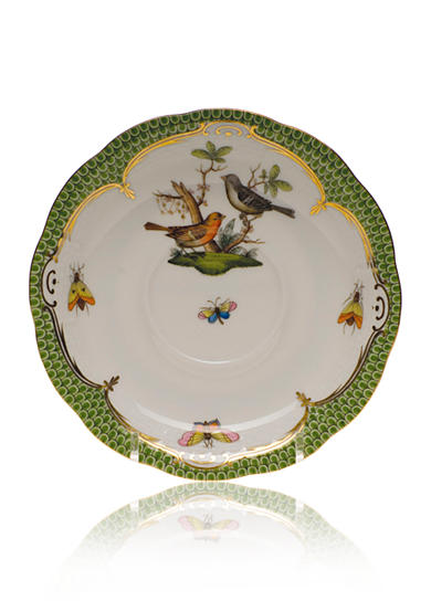 Herend Rothschild Bird Green Border Tea Saucer - Motif #5