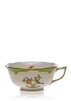 Herend Rothschild Bird Green Border Tea Cup - Motif #7
