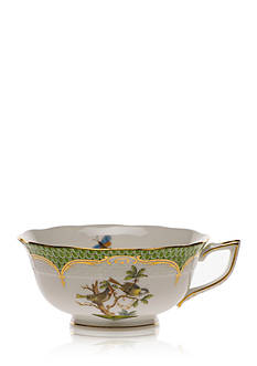 Herend Rothschild Bird Green Border Tea Cup - Motif #11