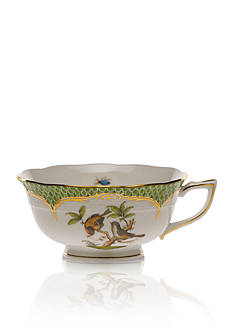 Herend Rothschild Bird Green Border Tea Cup - Motif #12