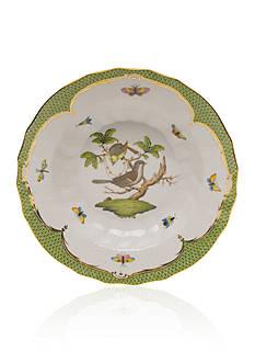 Herend Rothschild Bird Green Border Rim Soup Bowl - Motif #1