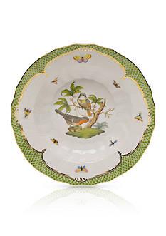 Herend Rothschild Bird Green Border Rim Soup Bowl - Motif #2
