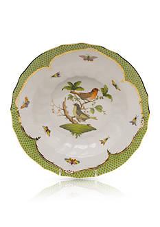 Herend Rothschild Bird Green Border Rim Soup Bowl - Motif #3