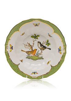 Herend Rothschild Bird Green Border Rim Soup Bowl - Motif #5