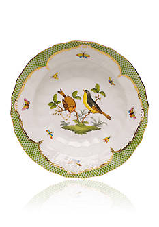 Herend Rothschild Bird Green Border Rim Soup Bowl - Motif #7