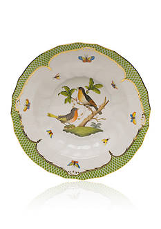 Herend Rothschild Bird Green Border Rim Soup Bowl - Motif #8