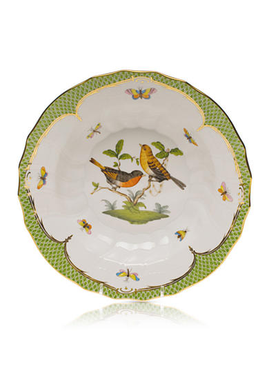 Herend Rothschild Bird Green Border Rim Soup Bowl - Motif #9