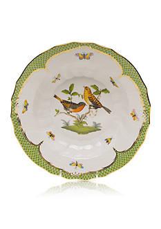 Herend Rothschild Bird Green Border Rim Soup Bowl - Motif #9