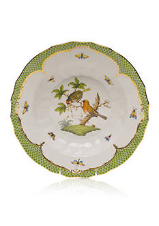 Herend Rothschild Bird Green Border Rim Soup Bowl - Motif #10