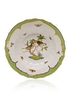 Herend Rothschild Bird Green Border Rim Soup Bowl - Motif #11