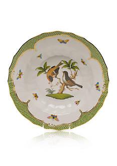 Herend Rothschild Bird Green Border Rim Soup Bowl - Motif #12