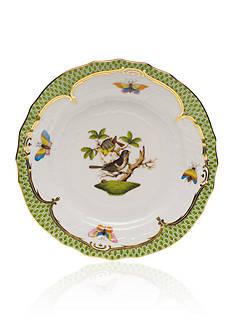 Herend Rothschild Bird Green Border Bread & Butter Plate- Motif #1