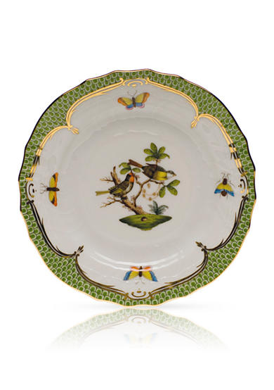 Herend Rothschild Bird Green Border Bread & Butter Plate- Motif #11