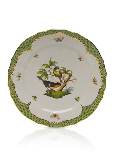 Herend Rothschild Bird Green Border Service Plate - Motif #2