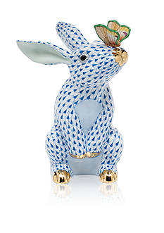 Herend Bunny with Butterfly - Blue