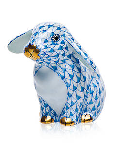 Herend Sitting Lop Ear Bunny - Blue