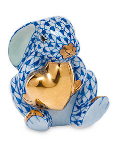 Herend Bunny with Heart - Sapphire Blue
