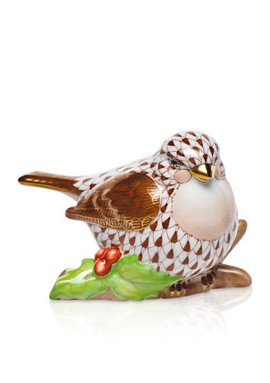 Herend Little Bird on Holly - Chocolate