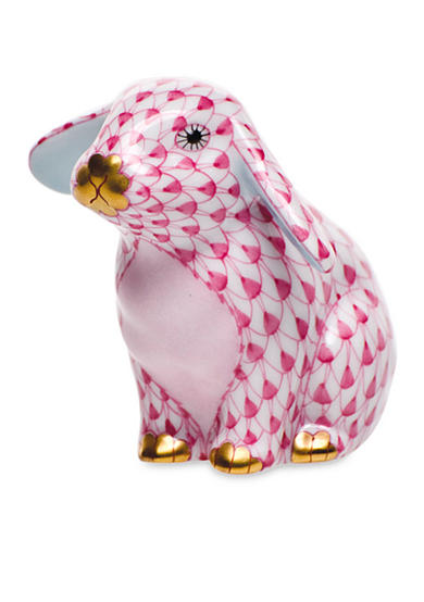 Herend Sitting Lop Ear Bunny - Raspberry
