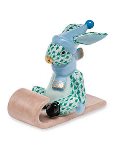 Herend Sledding Bunny - Green