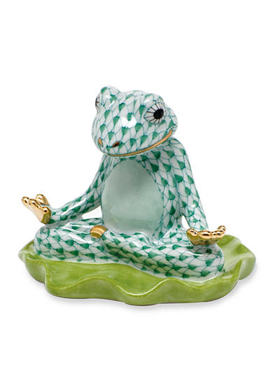 Herend Yoga Frog - Green