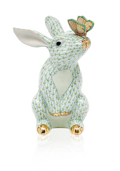 Herend Bunny with Butterfly - Key Lime