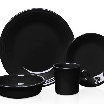 Solid Color Dinnerware: Black Fiesta 4-Piece Place Setting