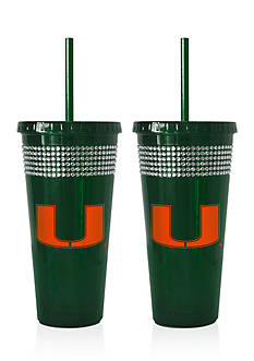 Boelter 22-oz. NCAA Miami Hurricanes 2-pack Bling Tumbler with Straw