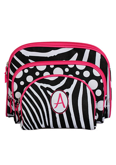 Home Accents® Monogram Zebra 3-Piece Cosmetic Case Set