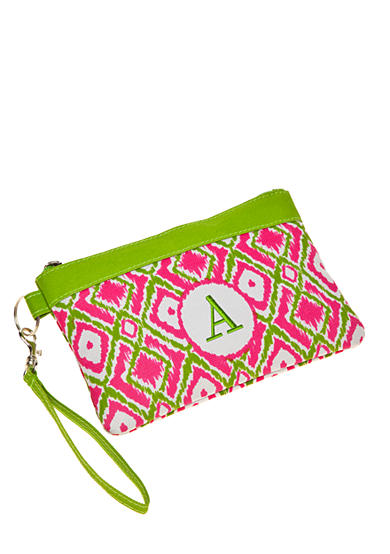 Home Accents® Monogram Pink Green Ikat Wristlet