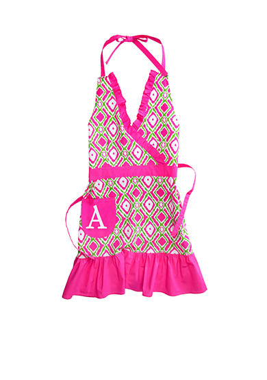 Home Accents® Monogram Pink Green Ikat Apron